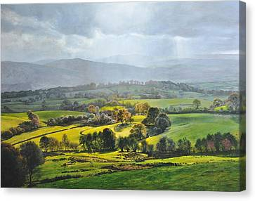 Canvas Print featuring the painting Light In The Valley At Rhug. by Harry Robertson