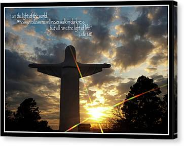 Light Of The World - Inspirational Scripture Message Canvas Print by Gregory Ballos