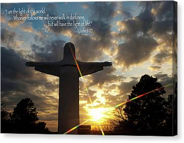 Light Of The World - Inspirational Scripture Message Poster Canvas Print