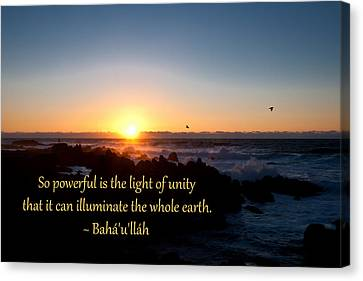 Canvas Print featuring the photograph Light Of Unity by Baha'i Writings As Art