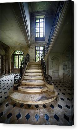 Canvas Print featuring the photograph Light On The Stairs - Abandoned Castle by Dirk Ercken