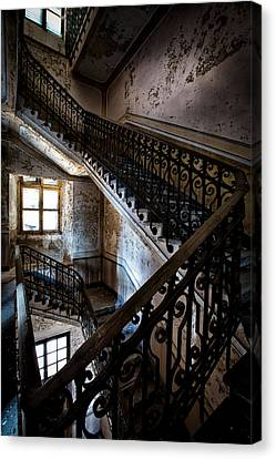 Light On The Stairs - Urban Exploration Canvas Print by Dirk Ercken