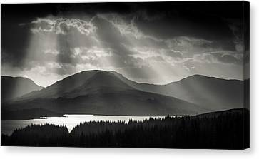 Crepuscular Rays Canvas Print - Light Over Loch Tulla by Dave Bowman