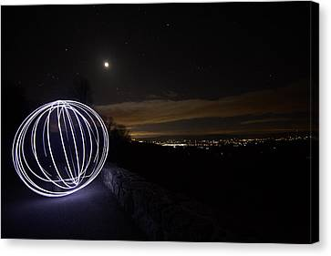 Light Painting On Skyline Drive Canvas Print by Shannon Louder