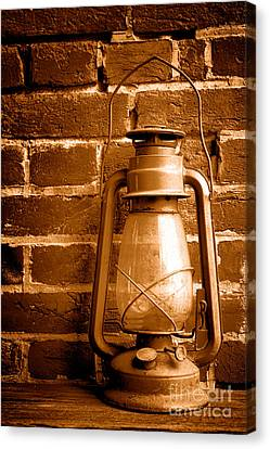 Oil Lamp Canvas Print - Light Past - Sepia by Olivier Le Queinec