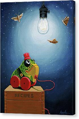 Canvas Print featuring the painting Light Snacks Original Whimsical Still Life by Linda Apple