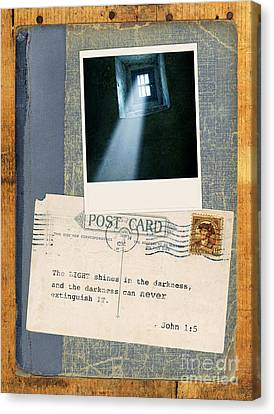 Light Through Window And Scripture Canvas Print by Jill Battaglia