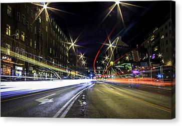 Long Street Canvas Print - Light Trails 2 by Nicklas Gustafsson