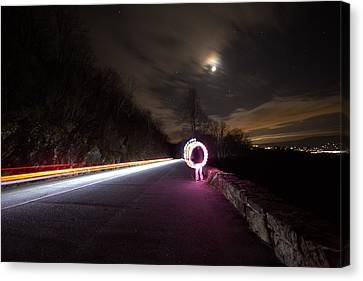 Light Trails And Painting Canvas Print by Shannon Louder