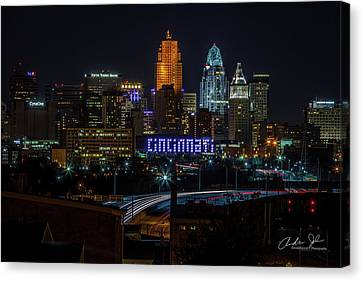 Light Trails Into The City Canvas Print