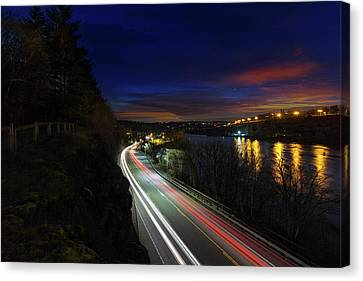 Light Trails On Highway 99 Canvas Print by David Gn