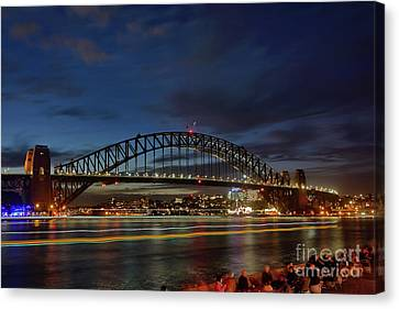 Canvas Print featuring the photograph Light Trails On The Harbor By Kaye Menner by Kaye Menner