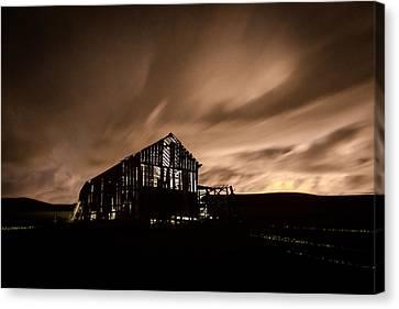 Lighted Barn Canvas Print by Brad Stinson