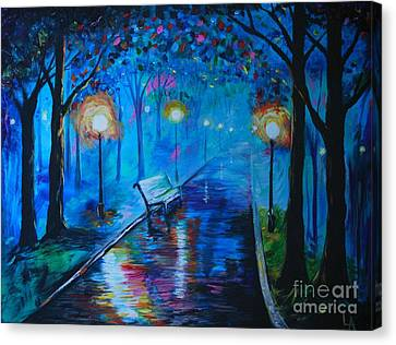 Canvas Print featuring the painting Lighted Parkway by Leslie Allen