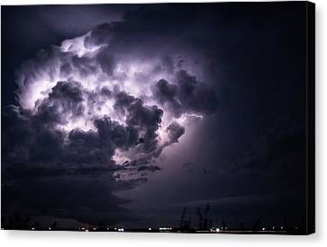 Lightening At Night Canvas Print