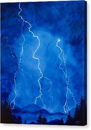 Lightening Storm In The Mountains Canvas Print by Lorraine Foster