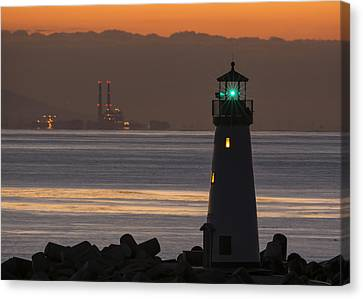 Lighthouse And Power Plant At Dawn Canvas Print