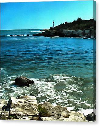 Rocky Maine Coast Canvas Print - Lighthouse And Breakers by Judy Coggin