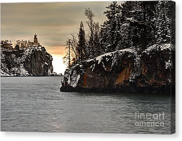 Lighthouse And Island At Dawn Canvas Print by Larry Ricker