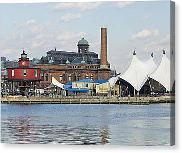 Lighthouse And Pier 6 - Baltimore Canvas Print