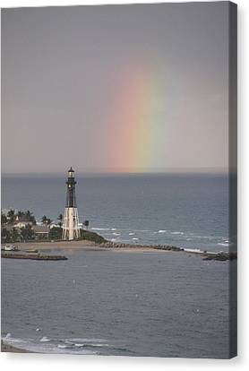 Lighthouse And Rainbow Canvas Print