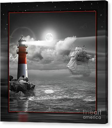 Lighthouse And Sailboat Under Moonlight Canvas Print