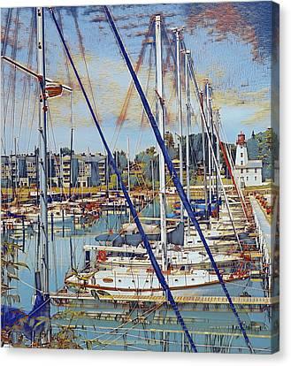 Lighthouse And Sailboats, Kincardine Canvas Print