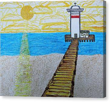 Lighthouse And Yellow Sun Canvas Print