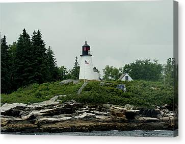 Lighthouse At Boothbay Harbor Canvas Print by Lois Lepisto