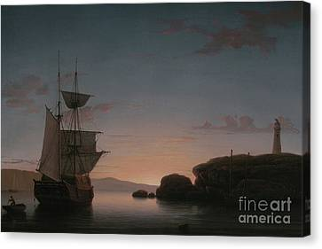 Lighthouse At Camden, Maine, 1851 Canvas Print by Fitz Henry Lane