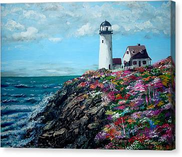 Canvas Print featuring the painting Lighthouse At Flower Point by Jack Skinner