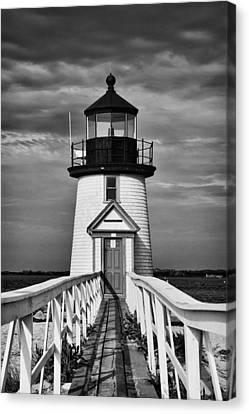 Lighthouse At Nantucket Island II - Black And White Canvas Print by Hideaki Sakurai