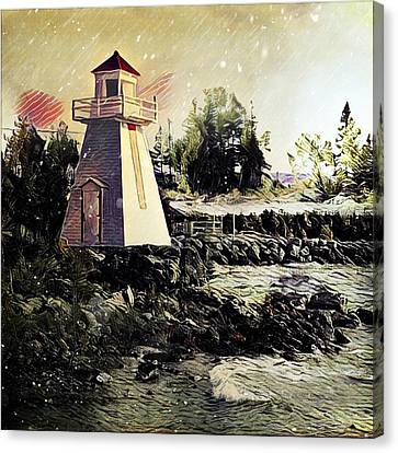 Lighthouse At South Baymouth Canvas Print by Julius Reque
