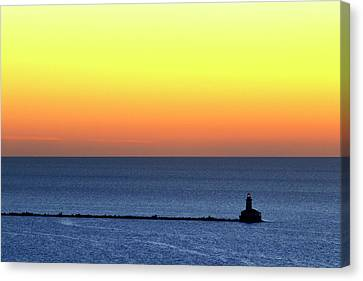Canvas Print featuring the photograph Lighthouse At Sunrise On Lake Michigan by Zawhaus Photography