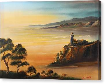 Lighthouse At Sunset Canvas Print by Remegio Onia