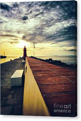 Canvas Print featuring the photograph Lighthouse At Sunset by Silvia Ganora