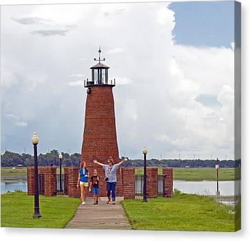 Lighthouse At The Port Of Kissimmee On Lake Tohopekaliga In Central Florida Canvas Print by Allan  Hughes