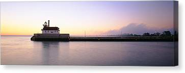 Lighthouse At The Waterfront, Duluth Canvas Print by Panoramic Images