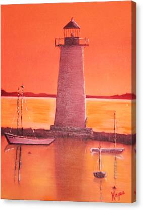 Canvas Print featuring the painting Lighthouse by Barbara Hayes