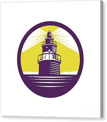 Lighthouse Circle Woodcut Canvas Print by Aloysius Patrimonio