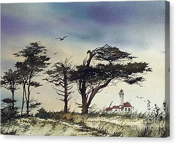 Canvas Print featuring the painting Lighthouse Coast by James Williamson