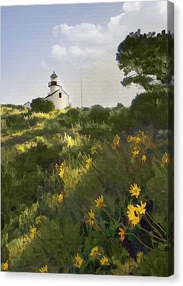 Lighthouse Daisies Canvas Print by Sharon Foster