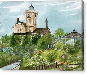 Canvas Print featuring the painting Lighthouse Gardens  by Nancy Patterson