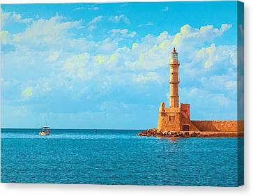 Ports Canvas Print - Lighthouse In Greece by Zin Shades