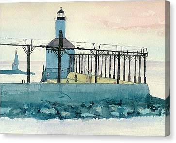 Lighthouse In Michigan City Canvas Print by Lynn Babineau