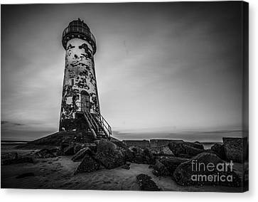 Lighthouse In Mono Canvas Print