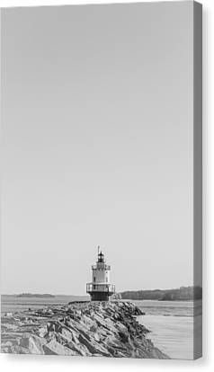 Lighthouse In The Bay Canvas Print by Victory Designs