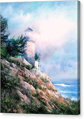 Lighthouse In The Mist Canvas Print by Sally Seago