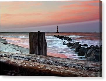 Island Stays Canvas Print - Lighthouse Jetties by Drew Castelhano