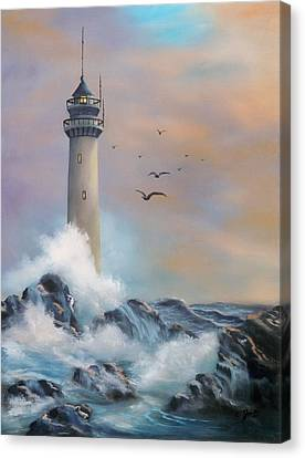 Canvas Print featuring the painting Lighthouse by Joni McPherson